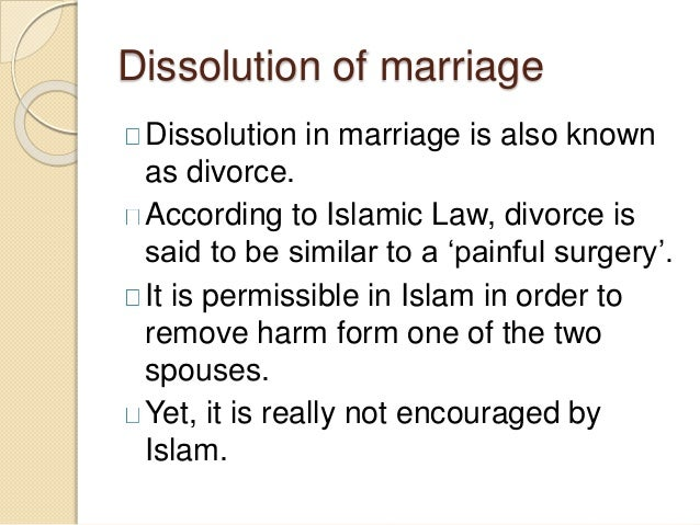 dissolution of marriage in islam