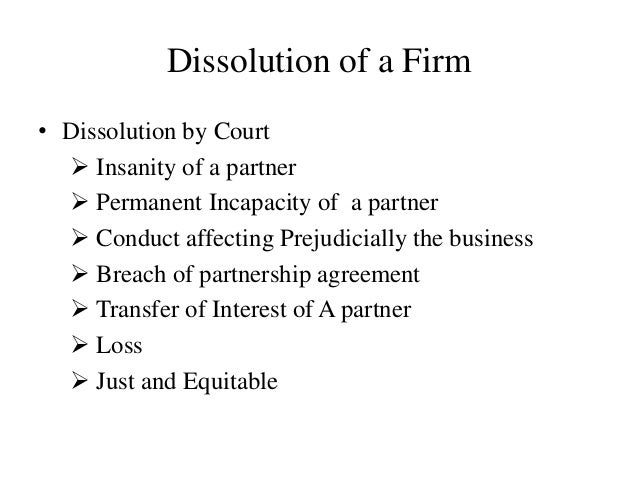 Dissolution and registration of partnership firm