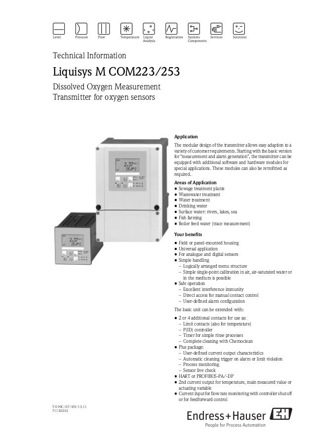 TI199C/07/EN/13.1171130252Technical InformationLiquisys M COM223/253Dissolved Oxygen MeasurementTransmitter for oxygen sen...