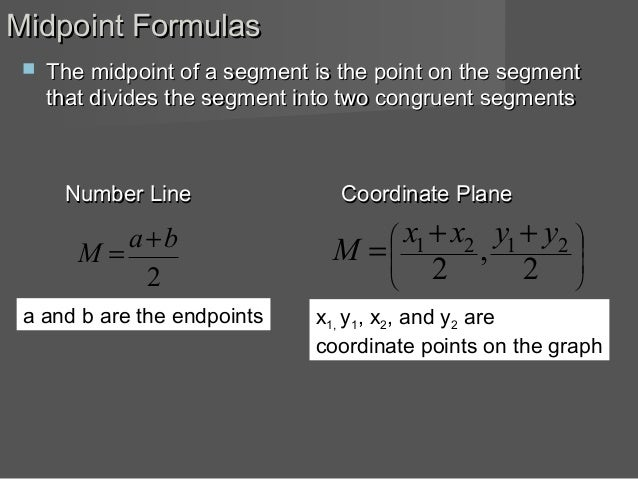 how to find midpoint of two points formula