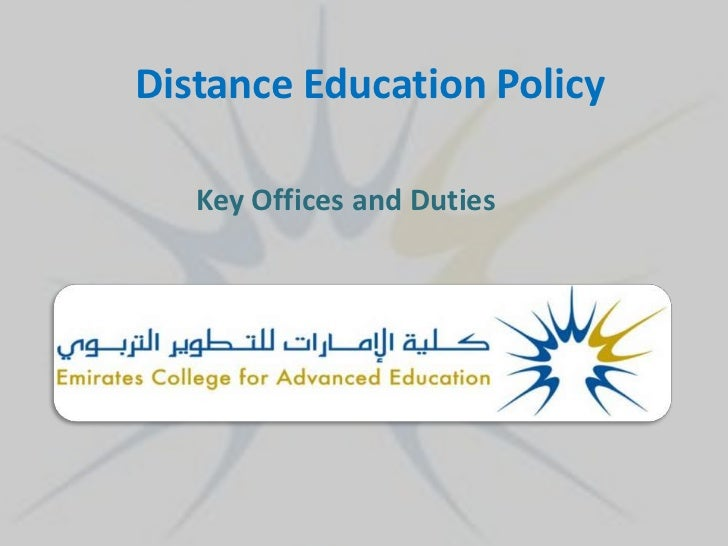 Distance Education Policy   Key Offices and Duties