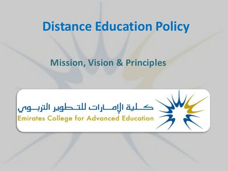 Distance Education Policy Mission, Vision & Principles