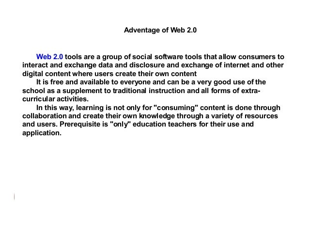 Division of Web 2.0 The Web 2.0 is divided on :  -Wiki - is a type of network station that allows users to add, remove, pu...
