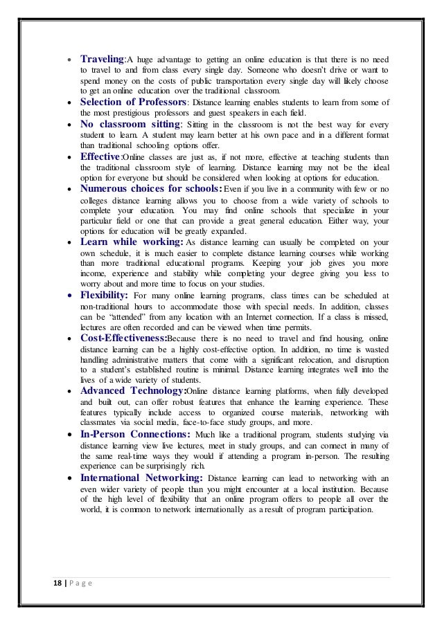 advantages of online learning essay