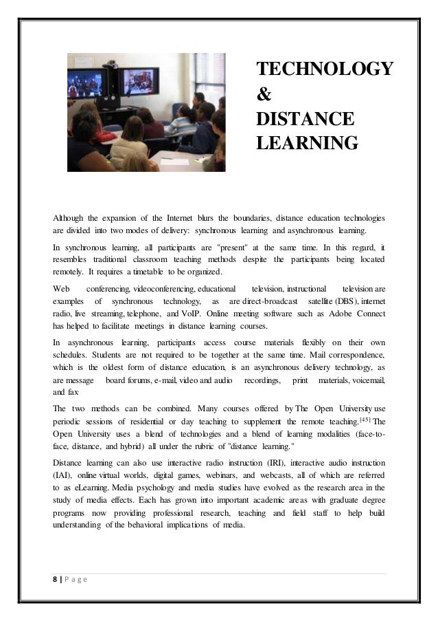 disadvantages of distance learning essay In online distance learning and traditional on campus colleges the student must be dedicated to complete the assignments and on time the largest advantage for online distance learning is the access of the course material, travel time, and the reduction of cost related to fuel consumption, housing costs and out-of-pocket expenses.