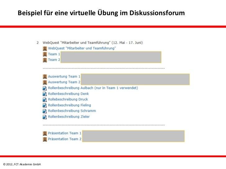 Beispiel für eine virtuelle Übung im Diskussionsforum© 2012, FCT Akademie GmbH