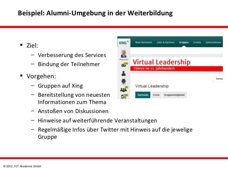 Beispiel: Alumni-Umgebung in der Weiterbildung           Ziel:                  – Verbesserung des Services              ...