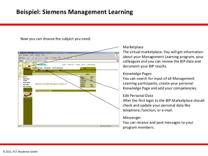 Beispiel: Siemens Management Learning            Now you can choose the subject you need:                                 ...