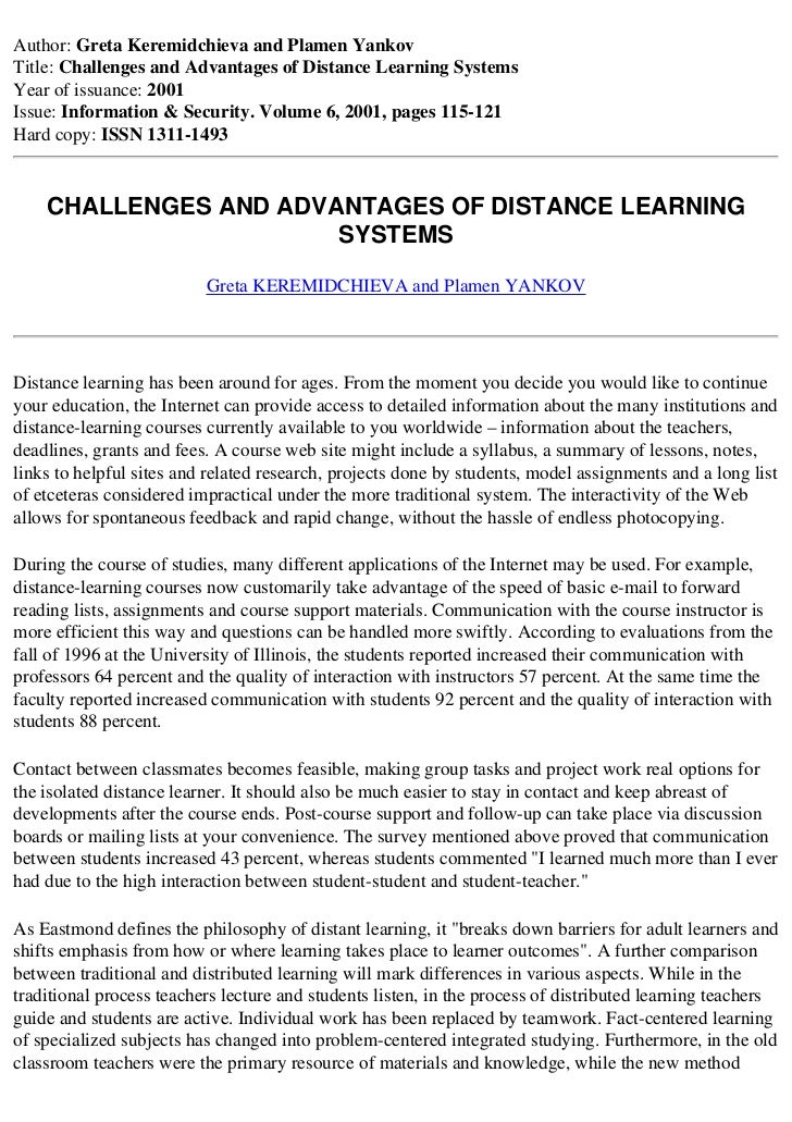 Author: Greta Keremidchieva and Plamen YankovTitle: Challenges and Advantages of Distance Learning SystemsYear of issuance...