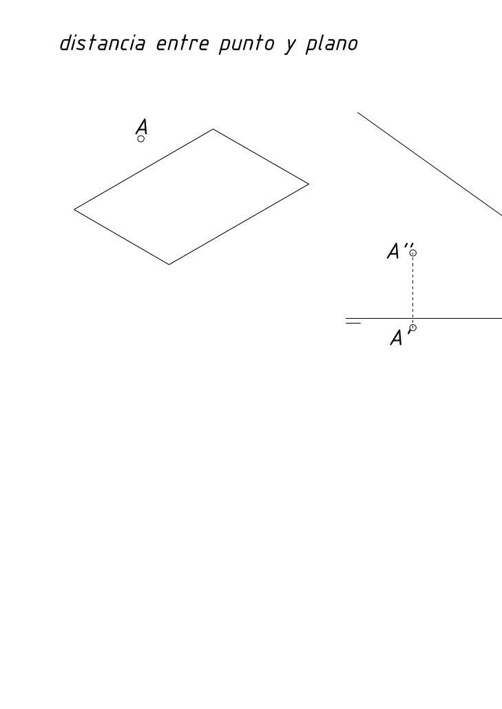 Diédrico: Distancia de un punto a un plano