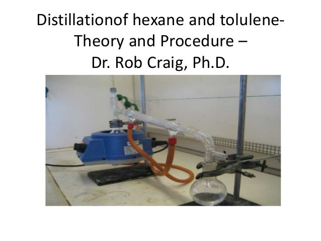 Distillationof hexane and tolulene-      Theory and Procedure –         Dr. Rob Craig, Ph.D.