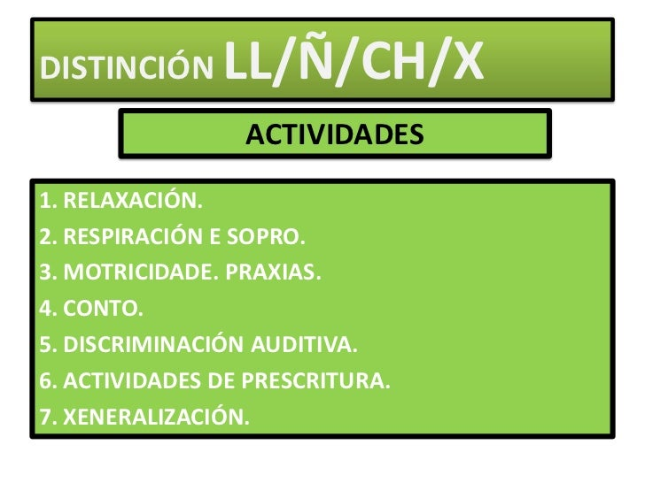 DISTINCIÓN LL/Ñ/CH/X<br />ACTIVIDADES<br />RELAXACIÓN.<br />RESPIRACIÓN E SOPRO.<br />MOTRICIDADE. PRAXIAS.<br />CONTO.<br...