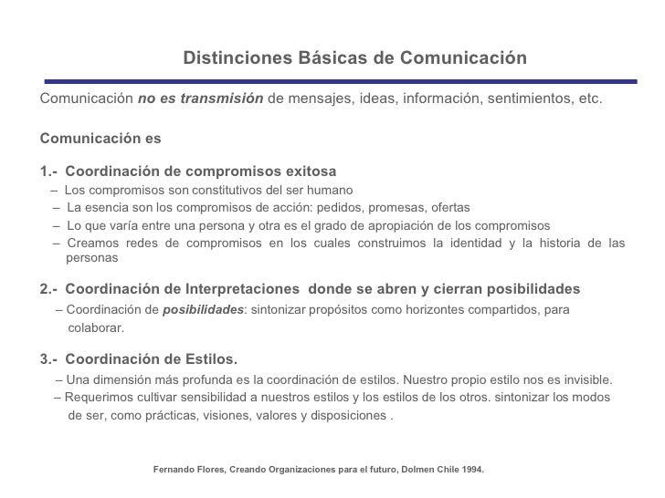 Distinciones Básicas de Comunicación Fernando Flores, Creando Organizaciones para el futuro, Dolmen Chile 1994. <ul><li>Co...