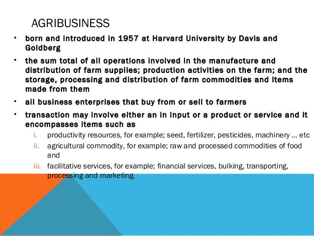 distinctive features of agribusiness management and the importance of