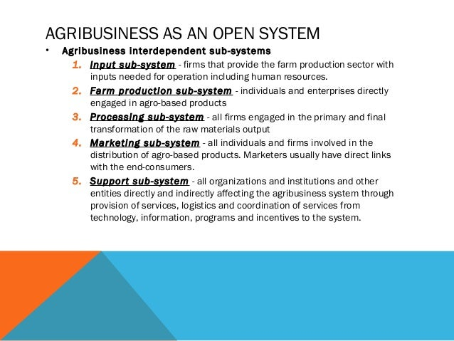 support subsystem in agribusiness