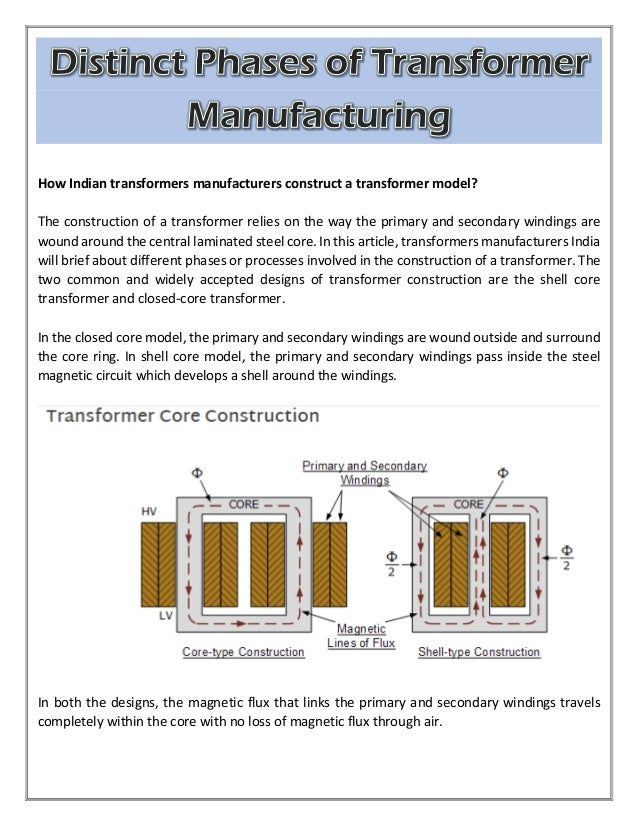 How Indian transformers manufacturers construct a transformer model? The construction of a transformer relies on the way t...