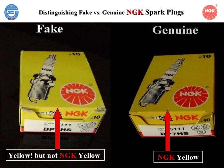Distinguishing Fake vs. Genuine   NGK  Spark Plugs   Yellow! but not  NGK  Yellow   NGK  Yellow