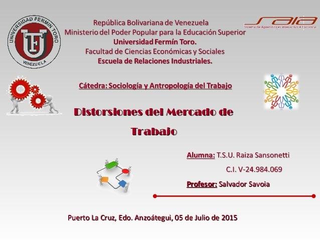 Profesor:Profesor: Salvador SavoiaSalvador Savoia Puerto La Cruz, Edo. Anzoátegui, 05 de Julio de 2015Puerto La Cruz, Edo....