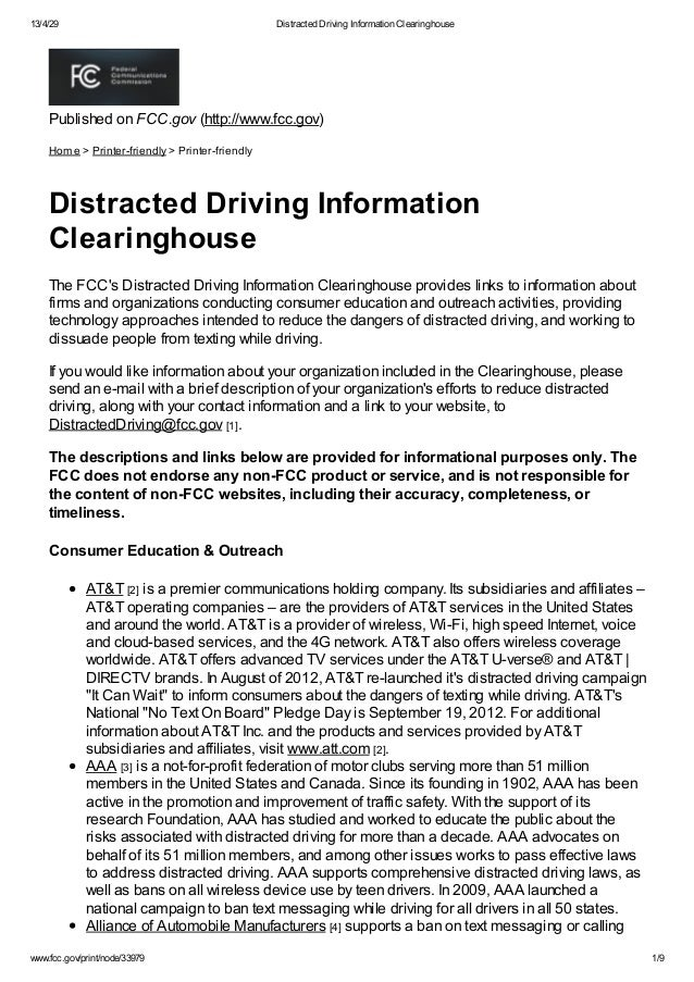 13/4/29 Distracted Driving Information Clearinghouse Www.fcc.gov/print ...