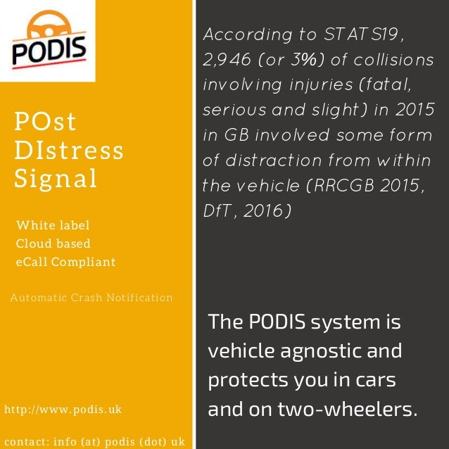 POst DIstress Signal White label Cloud based eCall Compliant Automatic Crash Notification http://www.podis.uk contact: inf...