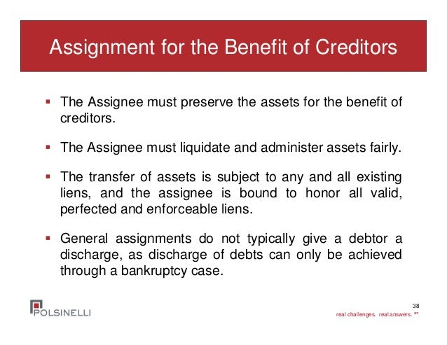 general assignment for the benefit of creditors