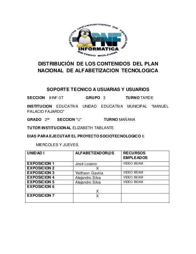 DISTRIBUCIÓN DE LOS CONTENIDOS DEL PLAN NACIONAL DE ALFABETIZACION TECNOLOGICA SOPORTE TECNICO A USUARIAS Y USUARIOS SECCI...