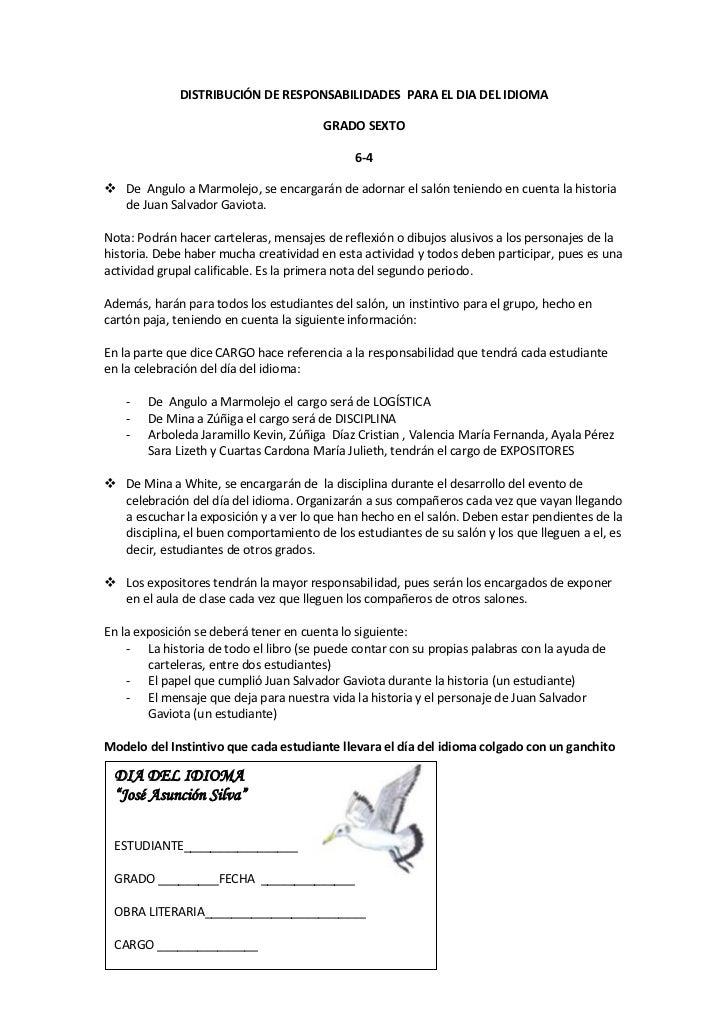 DISTRIBUCIÓN DE RESPONSABILIDADES  PARA EL DIA DEL IDIOMA<br />GRADO SEXTO<br />6-4<br />De  Angulo a Marmolejo, se encarg...