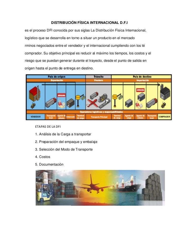 DISTRIBUCIÓN FÍSICA INTERNACIONAL D.F.I<br />es el proceso DFI conocida por sus siglas La Distribución Física Internaciona...