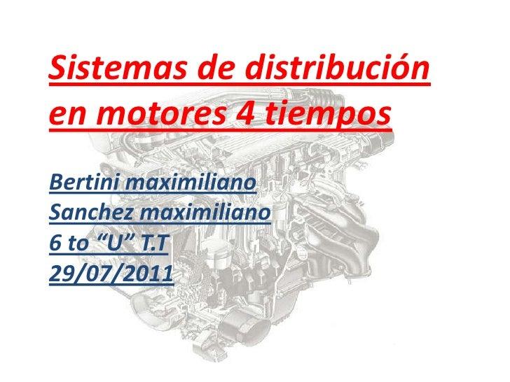 """Sistemas de distribución en motores 4 tiemposBertini maximilianoSanchezmaximiliano6 to """"U"""" T.T29/07/2011<br />"""