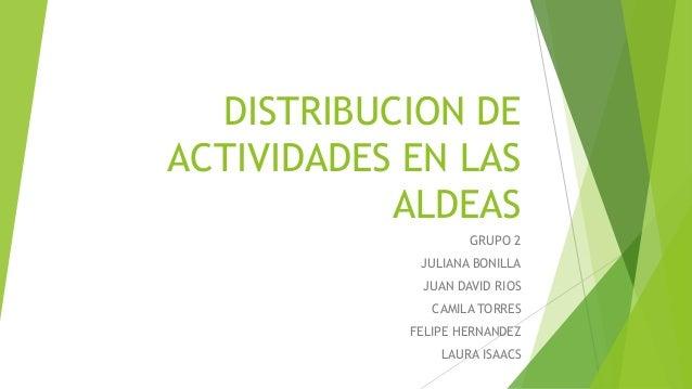 DISTRIBUCION DE ACTIVIDADES EN LAS ALDEAS GRUPO 2 JULIANA BONILLA JUAN DAVID RIOS CAMILA TORRES FELIPE HERNANDEZ LAURA ISA...