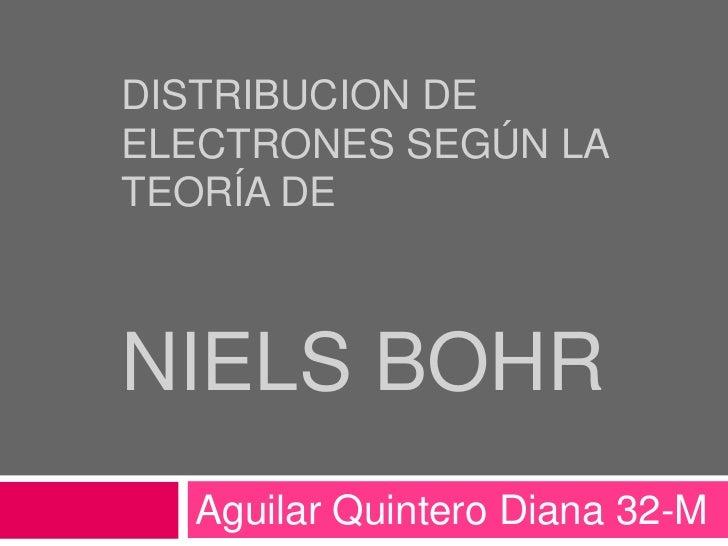 Distribucion de electrones según la teoría deNiels Bohr<br />Aguilar Quintero Diana 32-M<br />