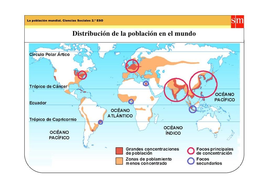 Distribución de la población en el mundo