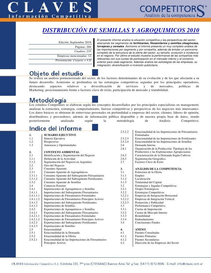 Distribucion De Semillas Y Agroquimicos 2010
