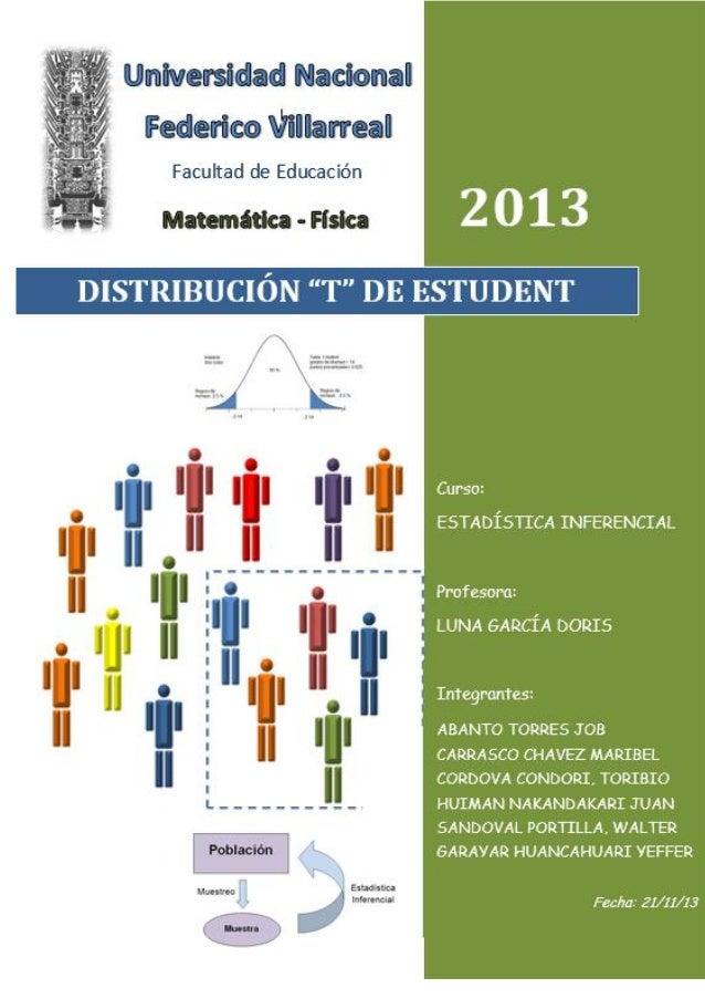 """DISTRIBUCION """"T"""" DE STUDENT  ESTADISTICA INFERENCIAL  2"""