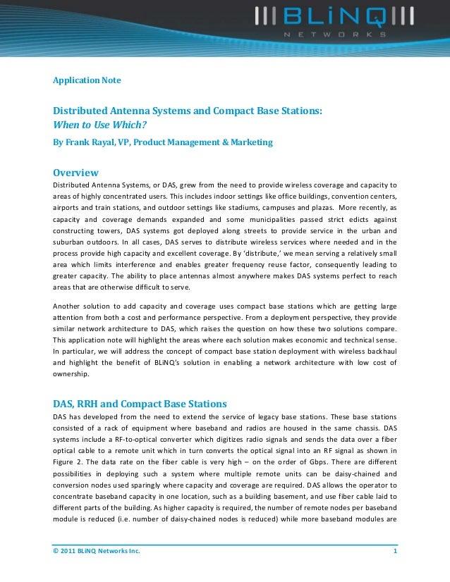 ApplicationNoteDistributedAntennaSystemsandCompactBaseStations:WhentoUseWhich?ByFrankRayal,VP,ProductM...