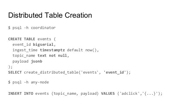 Distributed Table Creation $ psql -h coordinator CREATE TABLE events ( event_id bigserial, ingest_time timestamptz default...