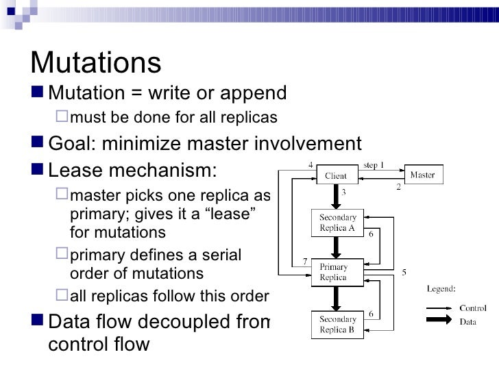 Mutations <ul><li>Mutation = write or append </li></ul><ul><ul><li>must be done for all replicas </li></ul></ul><ul><li>Go...