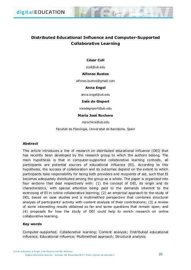Distributed Educational Influence and Computer-Supported Collaborative Learning                            ...