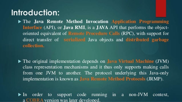 Remote Method Invocation (Java RMI)