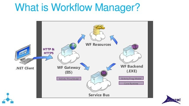 What is Workflow Manager?  WF Resources HTTP & HTTPS  .NET Client  WF Backend (.EXE)  WF Gateway (IIS)  Activity Prog Mode...