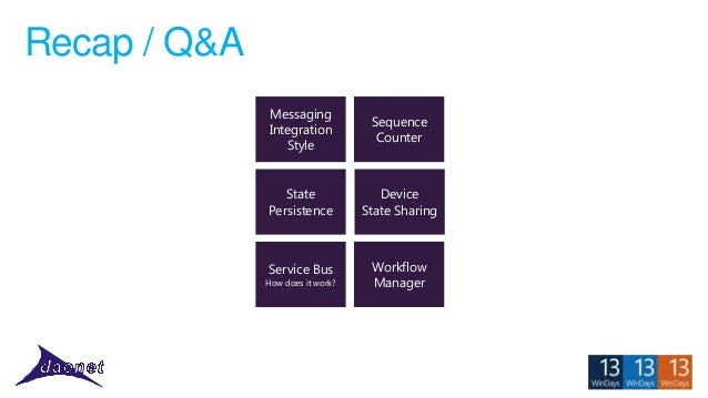 Recap / Q&A Messaging Integration Style  Sequence Counter  State Persistence  Device State Sharing  Service Bus  Workflow ...