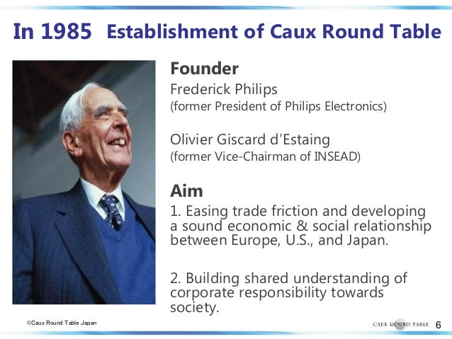 caux round table research Initiatives of change the caux round table was launched there in 1986, and continues to meet there it developed a program of principles for business.