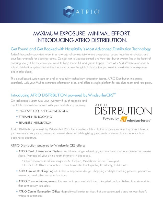 MAXIMUM EXPOSURE. MINIMAL EFFORT. INTRODUCING ATRIO DISTRIBUTION. Get Found and Get Booked with Hospitality's Most Advance...