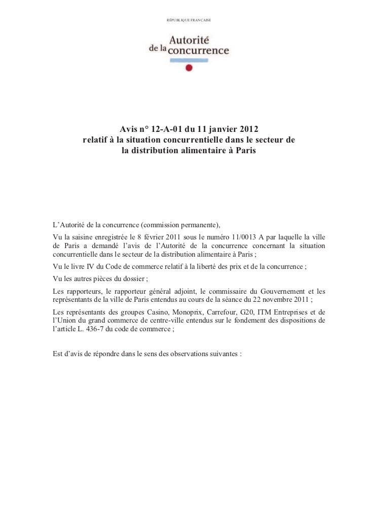 RÉPUBLIQUE FRANÇAISE                     Avis n° 12-A-01 du 11 janvier 2012          relatif à la situation concurrentiell...