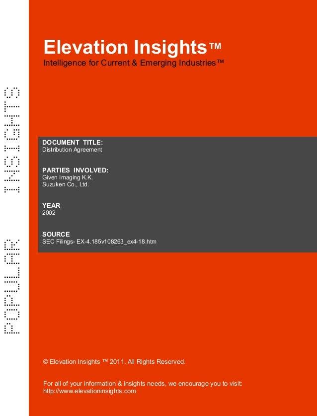 Elevation Insights™  | Distribution Agreement (Given Imaging, Suzuken)