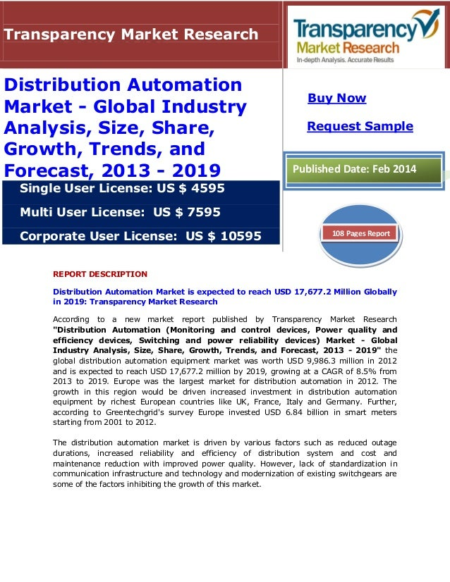 REPORT DESCRIPTION Distribution Automation Market is expected to reach USD 17,677.2 Million Globally in 2019: Transparency...