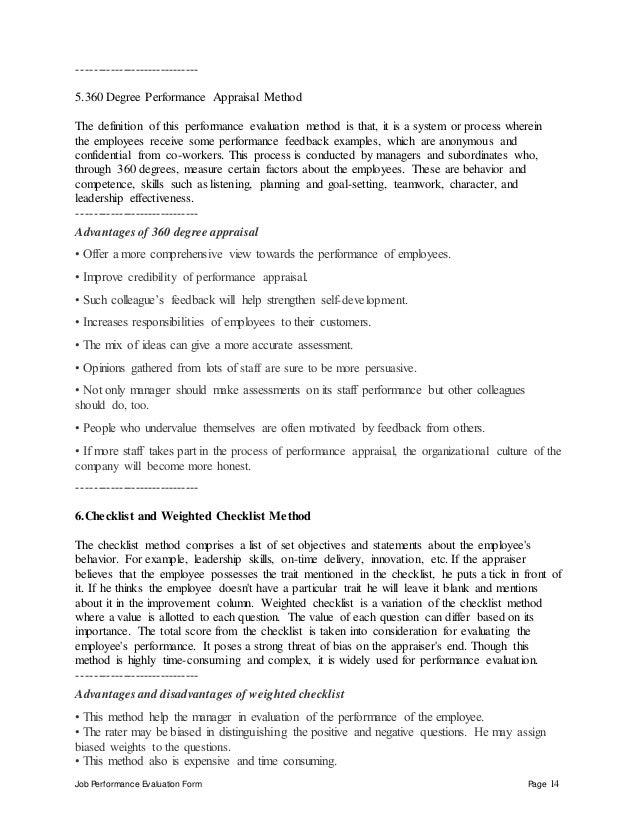 Job Performance Evaluation Form Page 14 ----------------------------- 5.360 Degree Performance Appraisal Method The defini...