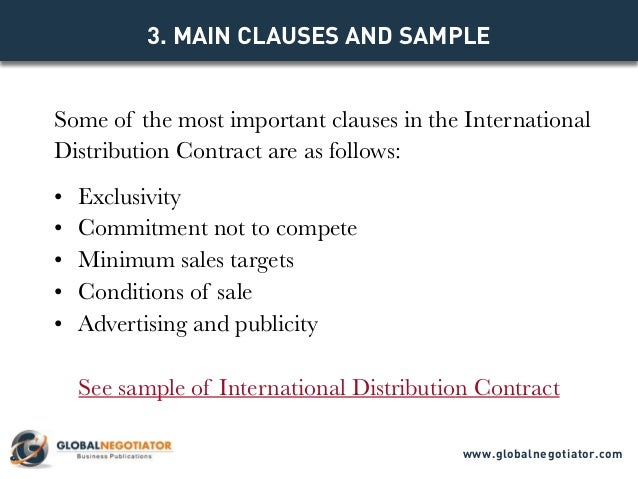 INTERNATIONAL DISTRIBUTION CONTRACT - Contract Template and Sample