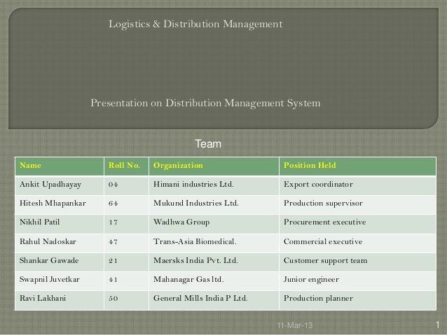 Logistics & Distribution Management                   Presentation on Distribution Management System                      ...