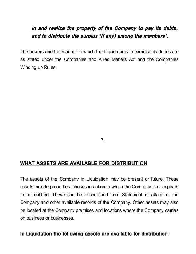Liquidating assets of a company